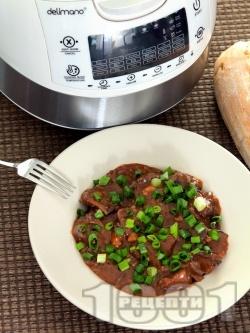 Телешки джолан с кост в собствен сос с червени вино, доматено пюре, кетчуп и горчица в Делимано Мултикукър - снимка на рецептата